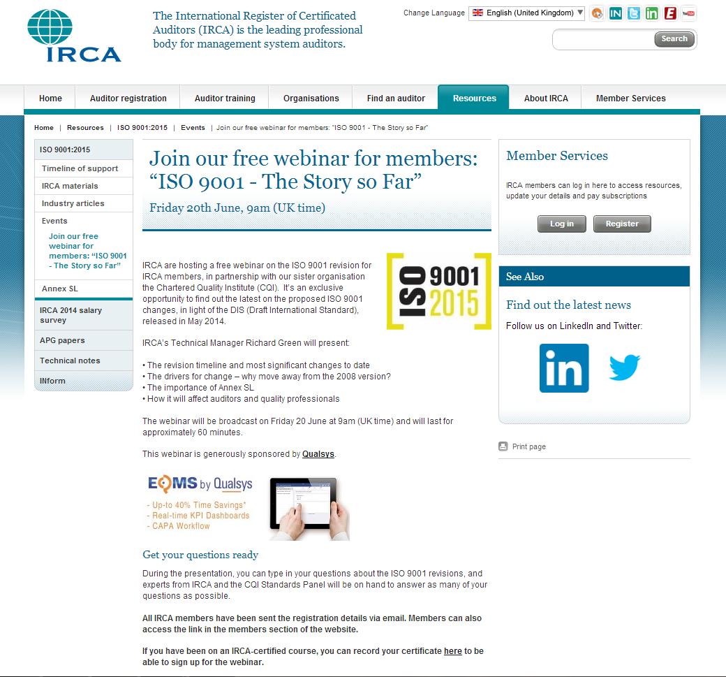 IRCA Website