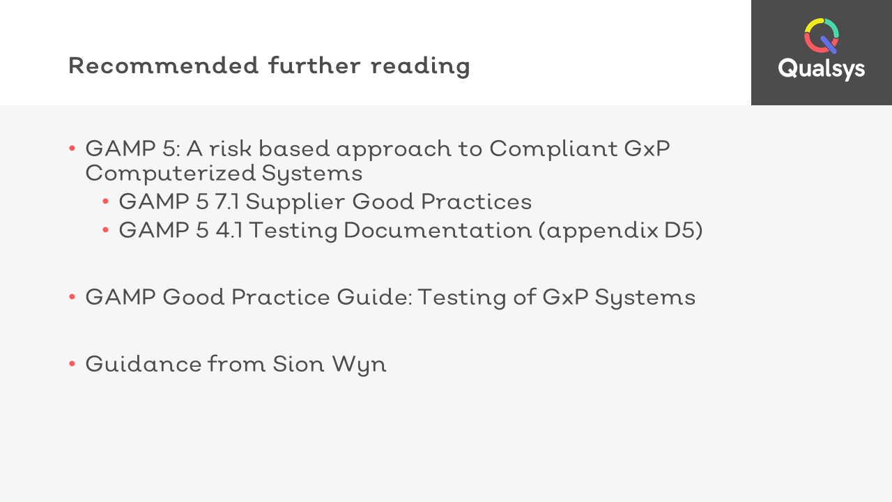 15 Recommended further GAMP 5 reading