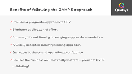 9 benefits of GAMP 5 approach