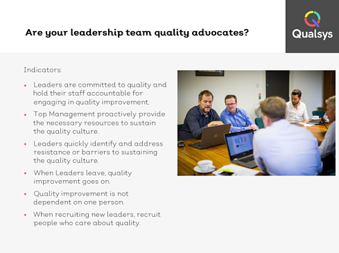 Leadership who are quality advocates 2