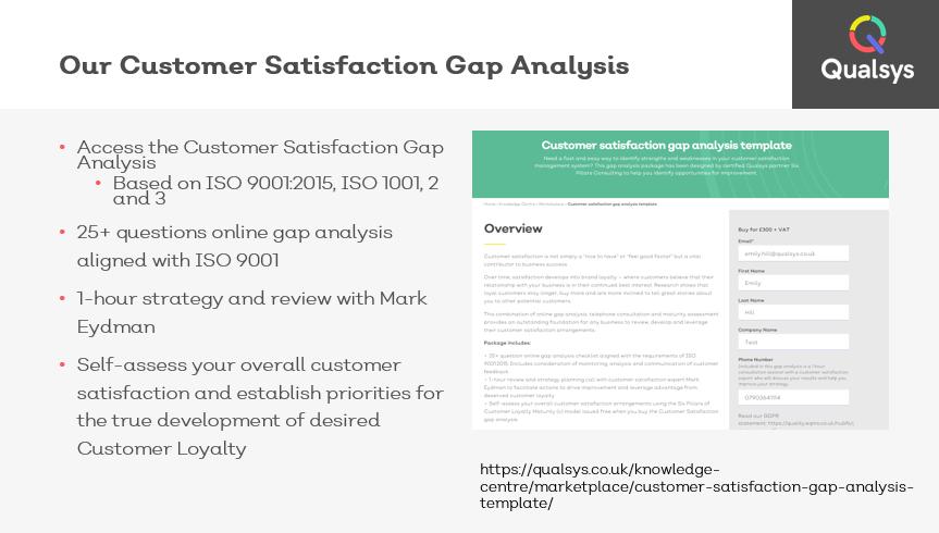 Customer satisfaction gap analysis