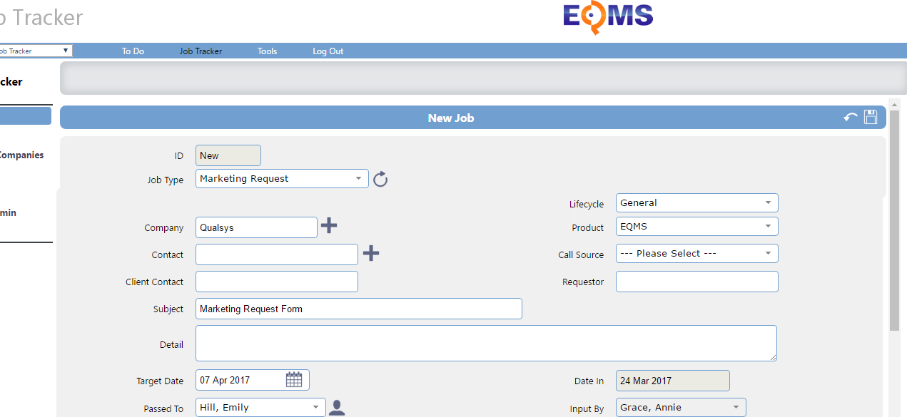 You can use the Job Tracker system to raise a marketing request in EQMS