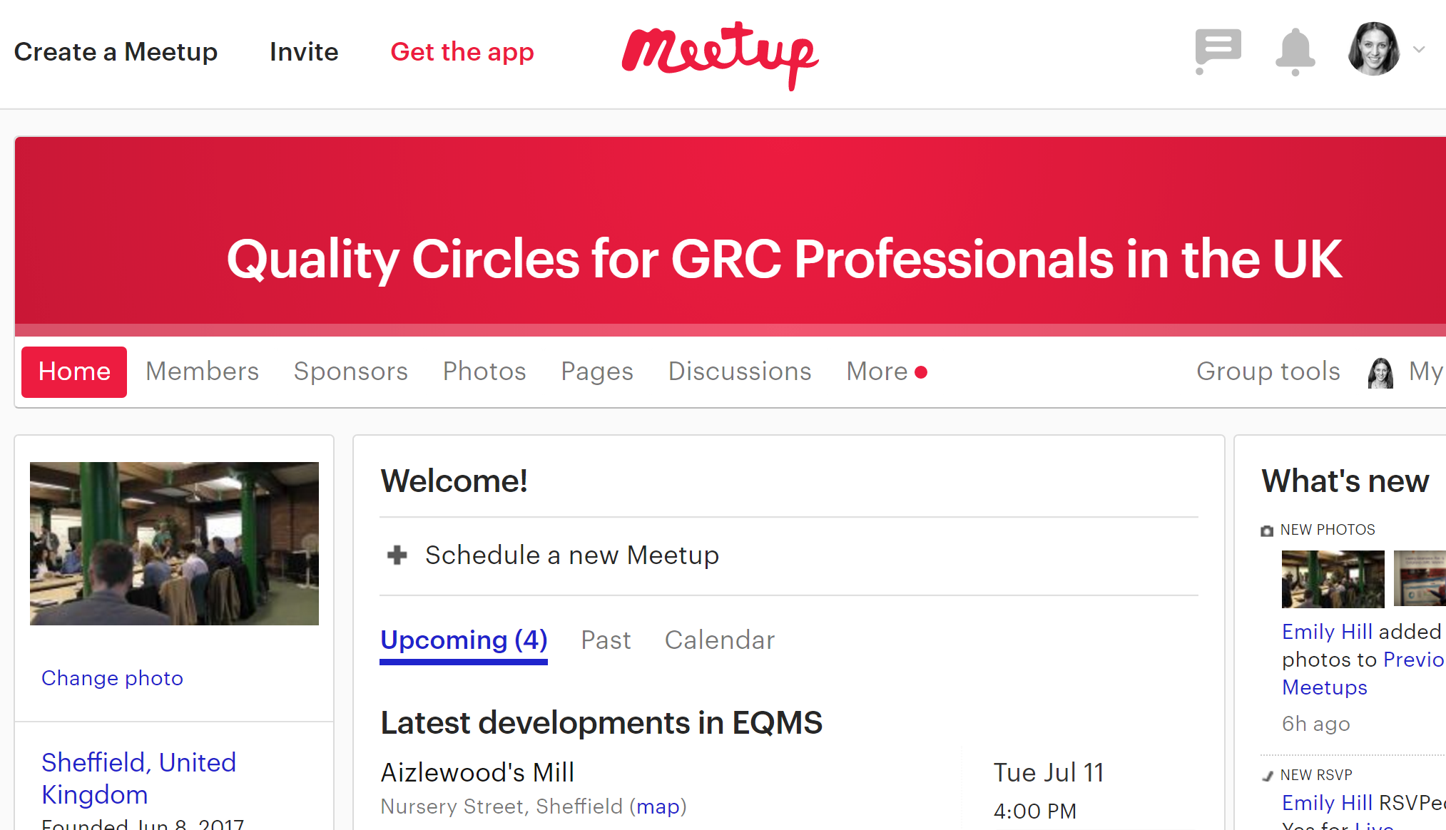 Meetup page