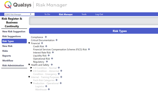 Risk qms examples