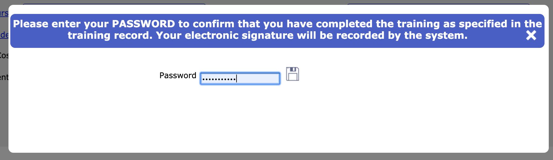 Training record e-signature