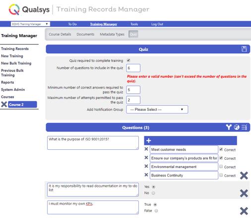TRaining Records Manager quiz