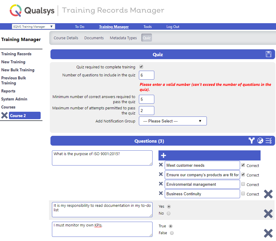 TRaining Records Manager quiz