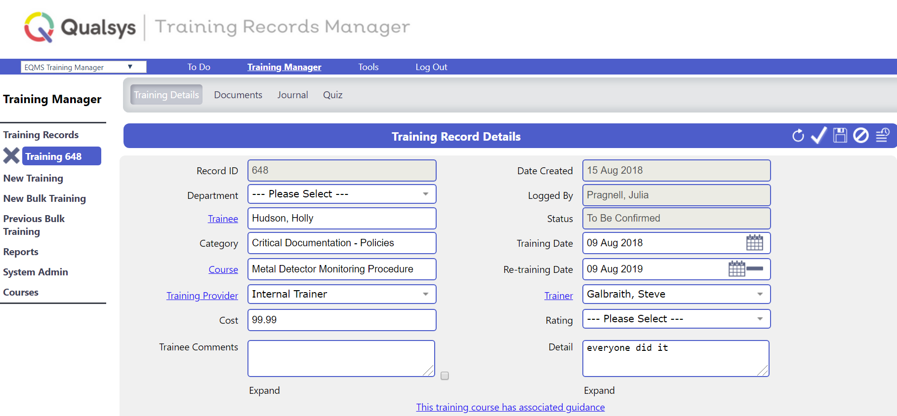 TRaining records manager software example